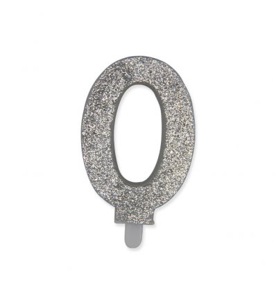 Candelina Sweety Argento Glitter 9 cm
