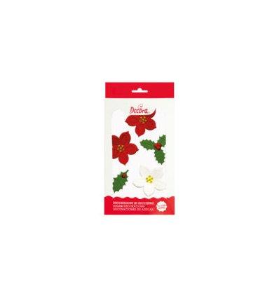 Stelle di Natale e Agrifoglio in zucchero 6 pz